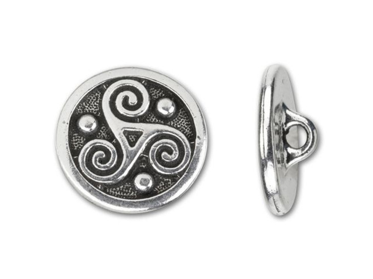 TierraCast Antique Silver-Plated Pewter Triskele Round Button