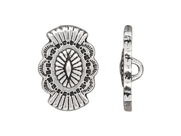 TierraCast Antique Silver-Plated Pewter Western Button