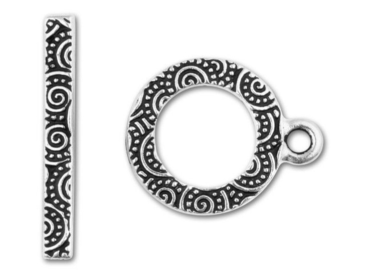 Tierracast Antique Silver-Plated Spiral Toggle Clasp