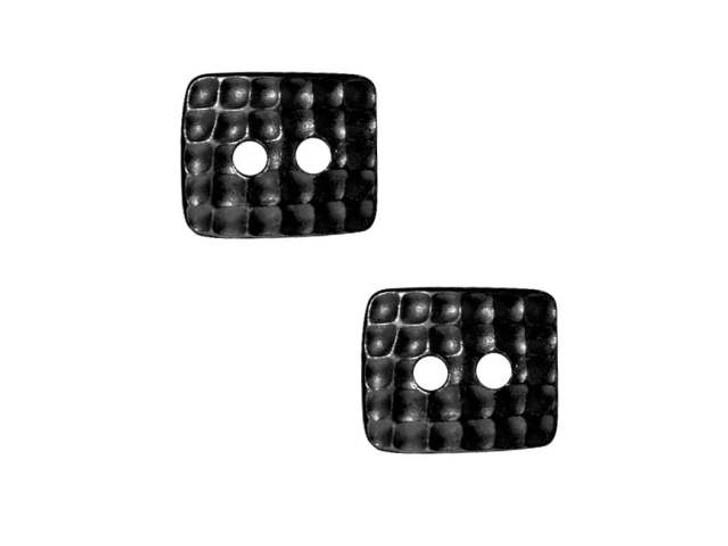 TierraCast Black Finish Pewter Rectangle Hammertone Button