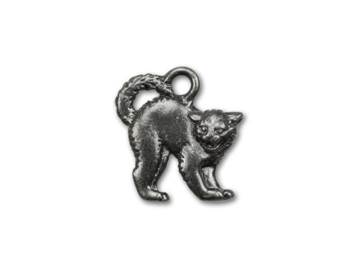 TierraCast Black Finish Pewter Scary Cat Charm