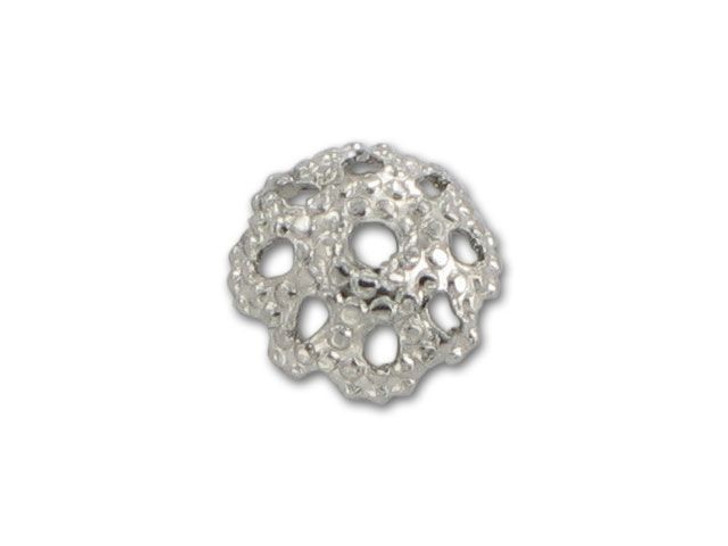 6mm Nickel-Plated Dotted Bead Cap
