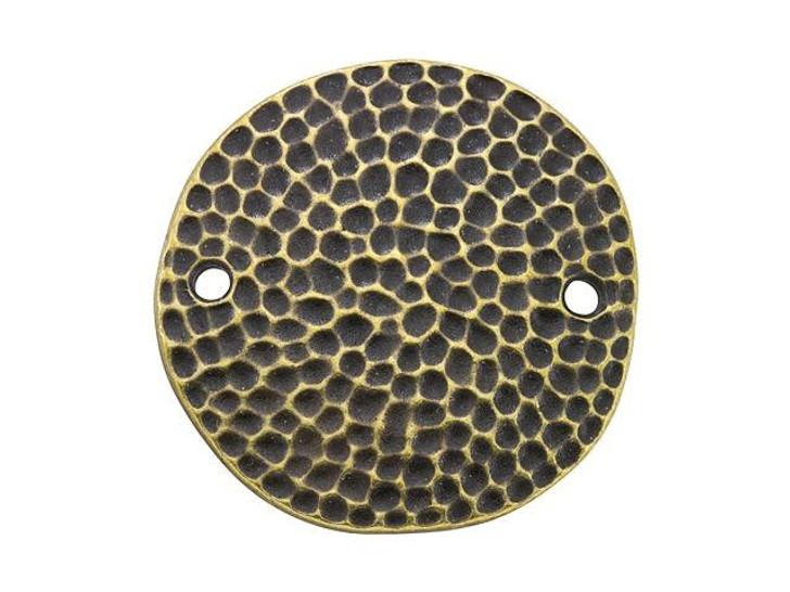 TierraCast Oxidized Brass-Plate 25mm Round Hammertone Disk Link