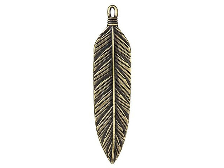 TierraCast Brass Oxide Pewter 3-Inch Feather Pendant