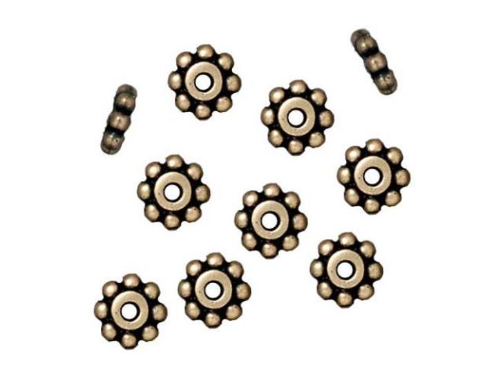 TierraCast Oxidized Brass-Plate 6mm Beaded Heishi Daisy Spacer