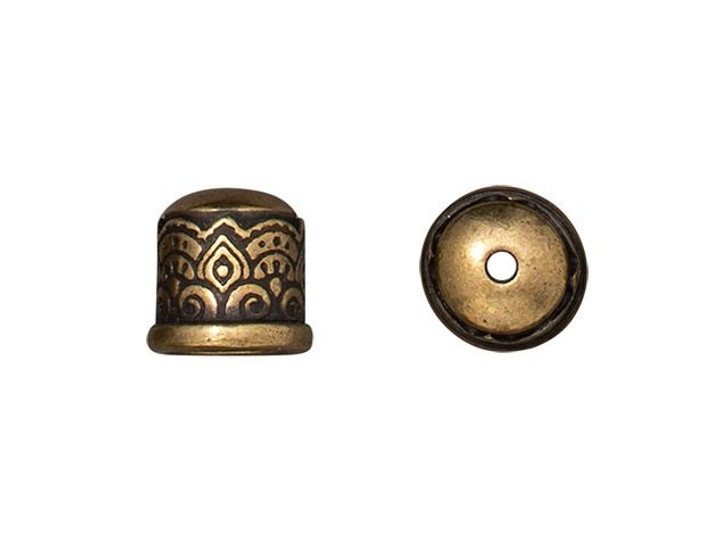 TierraCast Oxidized Brass-Plate 6mm Temple No Loop Cord End Cap
