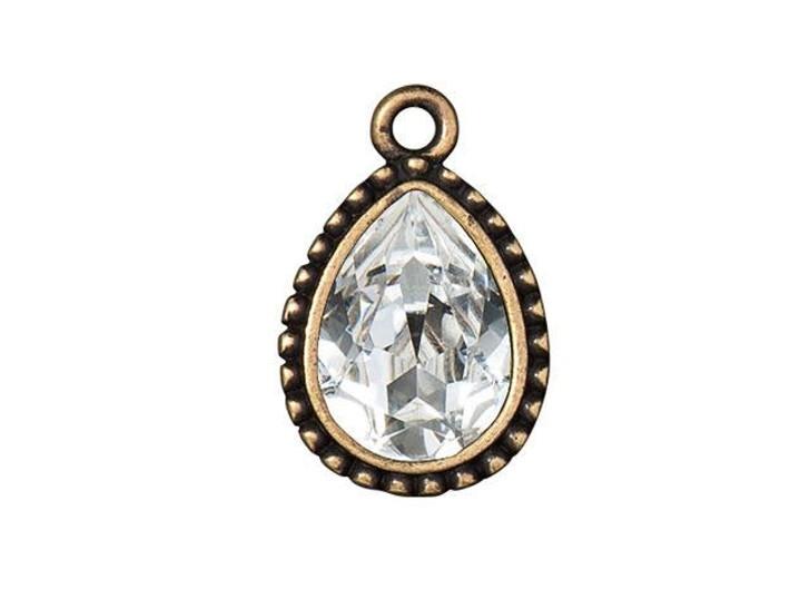 TierraCast Brass Oxide Pewter Beaded 14 x 10mm Beaded Pear Bezel Charm with Swarovski Crystal