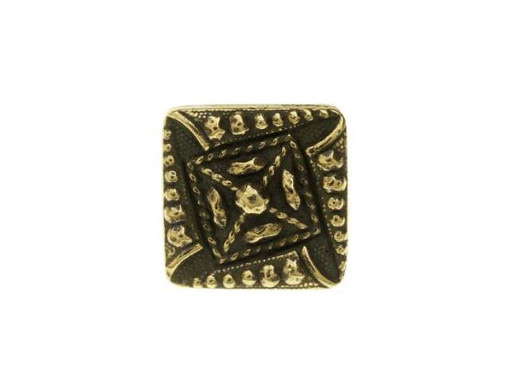 TierraCast Oxidized Brass-Plate Czech Square Button