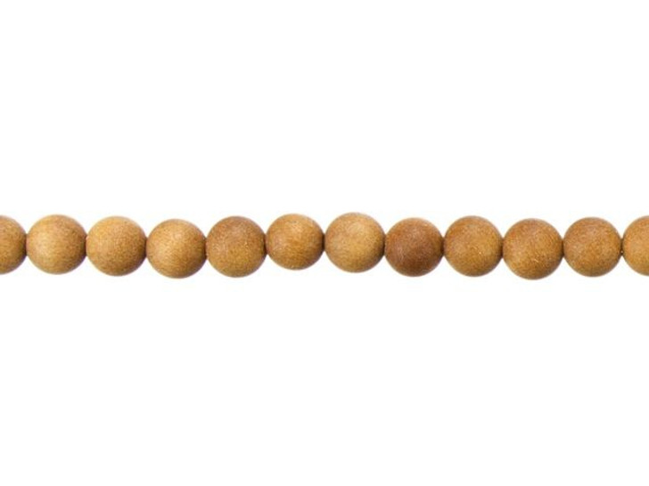 6mm Round Light Brown Sandalwood Scented Mala Bead Strand