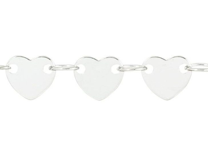 6mm Silver-Plated Brass Heart Chain By the Foot