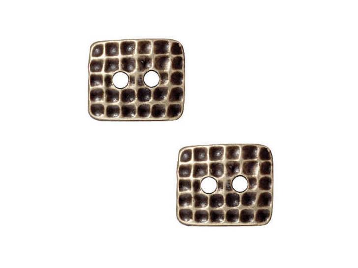 TierraCast Oxidized Brass-Plate Rectangle Hammertone Button
