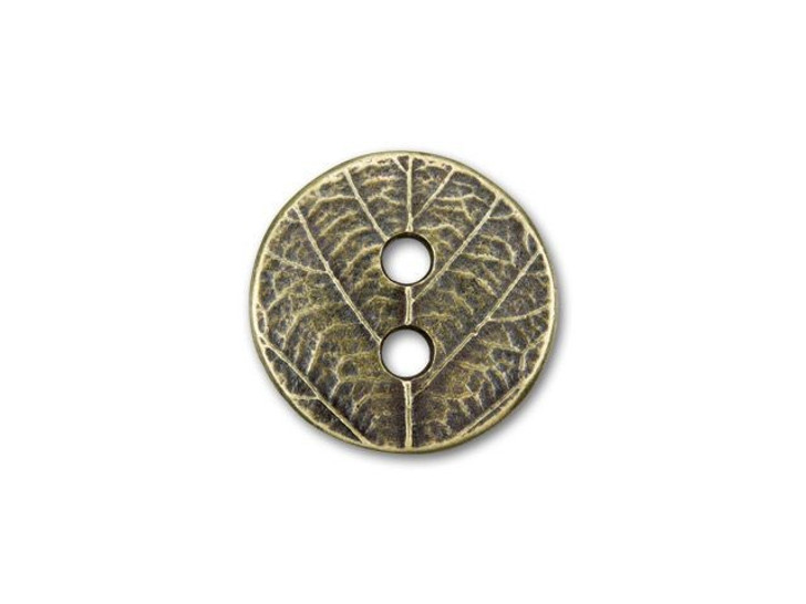 TierraCast Oxidized Brass-Plate Round Leaf Button