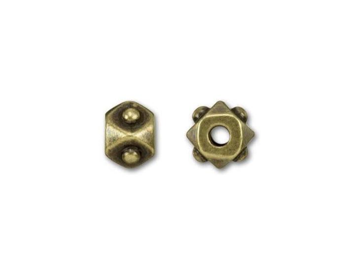 TierraCast Oxidized Brass-Plate Small Cube Spacer EuroBead