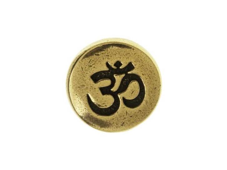 TierraCast Oxidized Brass-Plate Small Om Button