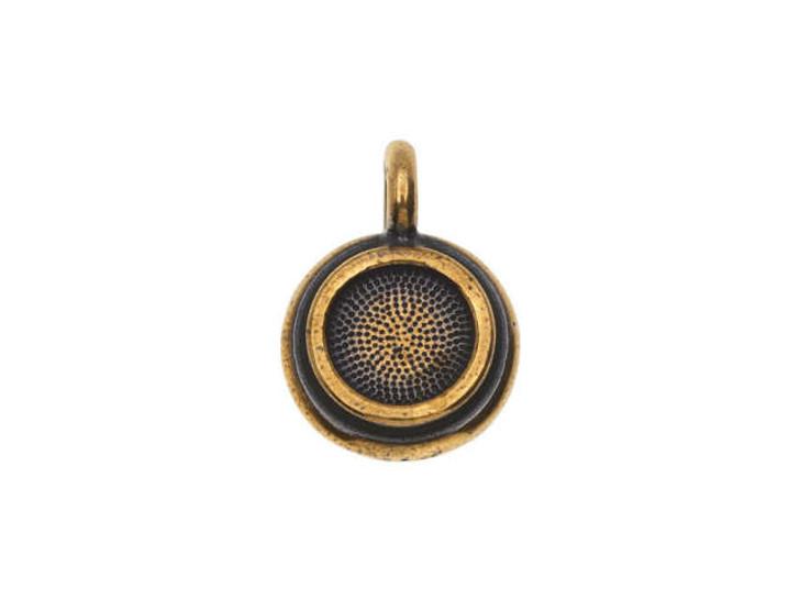 TierraCast Brass Oxide Pewter SS34 Stepped Glue-In Bezel Charm