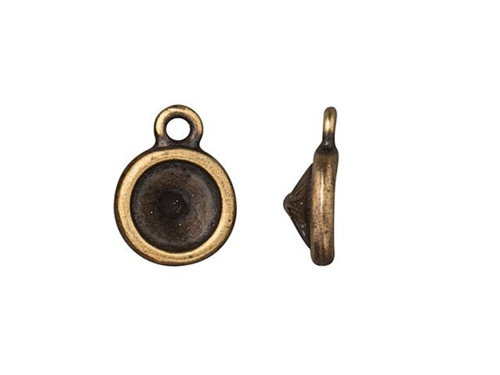 TierraCast Oxidized Brass-Plate SS39 Chaton Plain Bezel Charm