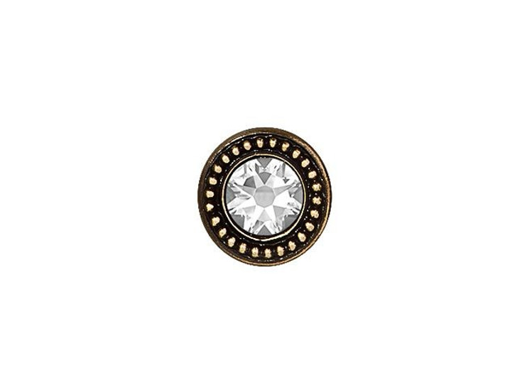 TierraCast Brass Oxide-Plated Pewter Button with Swarovski Crystal
