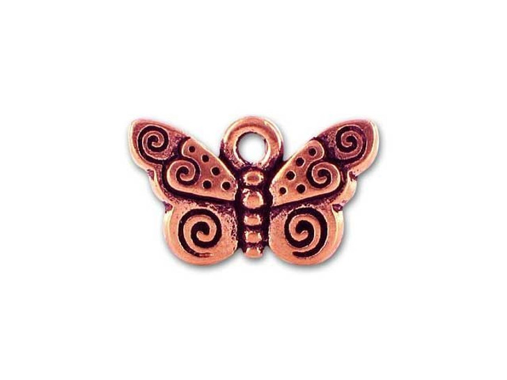TierraCast Copper Antique Spiral Butterfly Charm