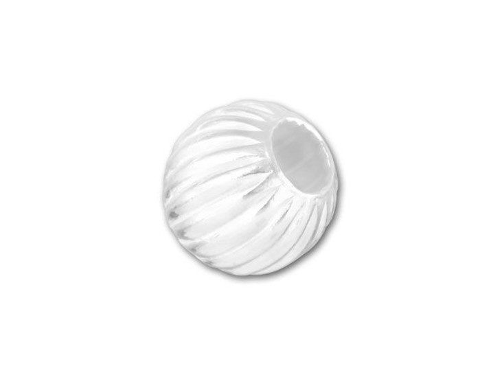 6mm Sterling Silver Corrugated Round Bead