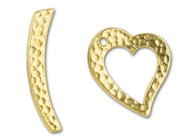 TierraCast Gold Hammertone Heart Toggle Clasp