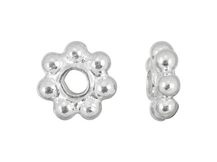 6mm Sterling Silver Daisy Spacer - Bright