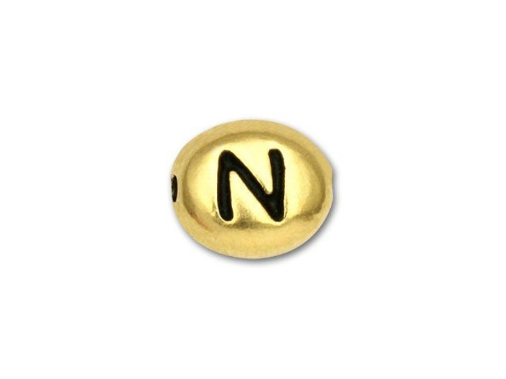 TierraCast Gold-Plated Antique Pewter Alphabet Bead - N