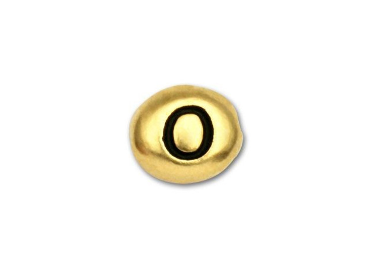 TierraCast Gold-Plated Antique Pewter Alphabet Bead - O
