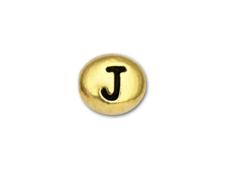 TierraCast Gold-Plated Antique Pewter Letter Bead - J