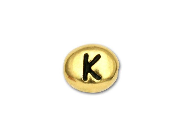 TierraCast Gold-Plated Antique Pewter Letter Bead - K