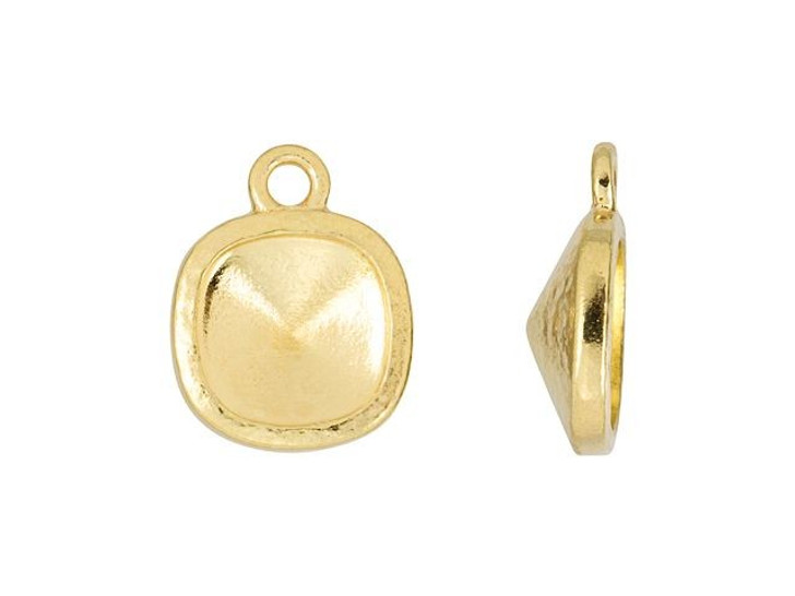 TierraCast Gold-Plated Pewter 10mm Hammered Cushion Frame Charm