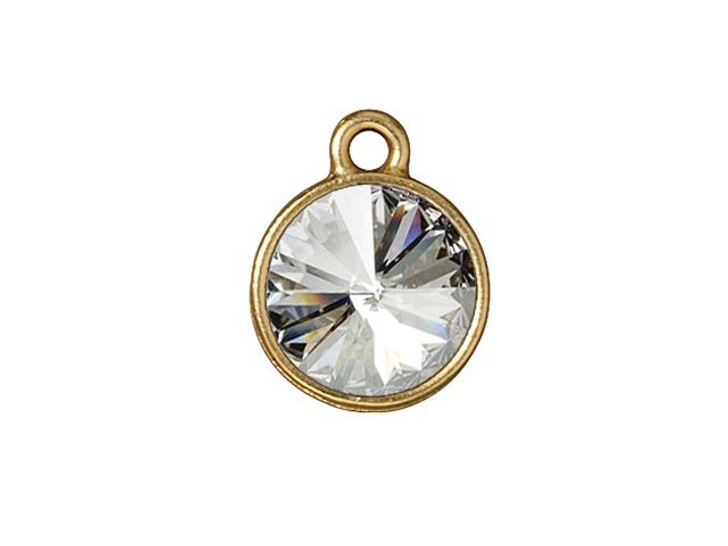 TierraCast Gold-Plated Pewter 12mm Plain Round Charm with Swarovski Crystal