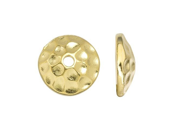 TierraCast Gold-Plated Pewter 8mm Round Hammered Bead Cap
