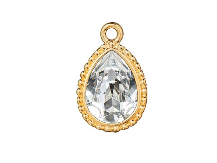 TierraCast Gold-Plated Pewter Beaded 14 x 10mm Beaded Pear Bezel Charm with Swarovski Crystal
