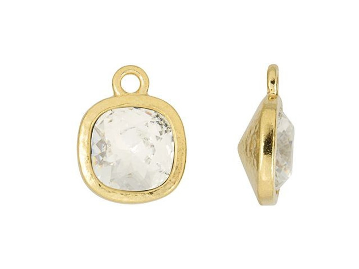 TierraCast Gold-Plated Pewter Cushion Frame Charm with Clear Crystal