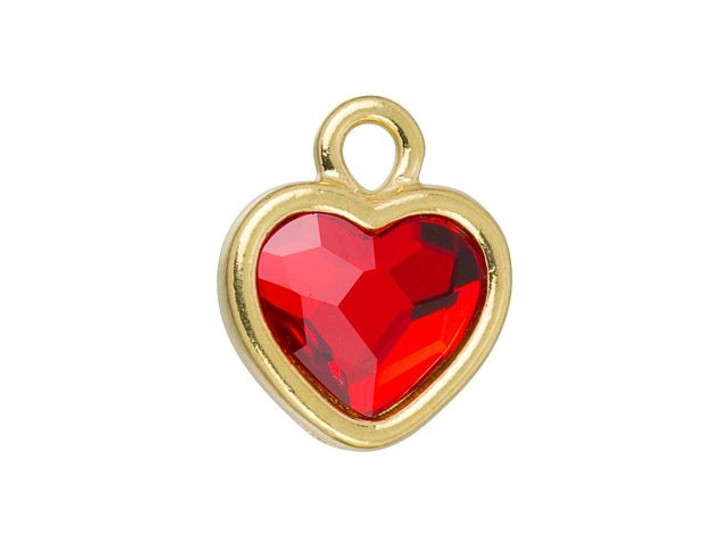 TierraCast Gold-Plated Pewter Simple Heart Charm with Swarovski 10mm Light Siam Crystal