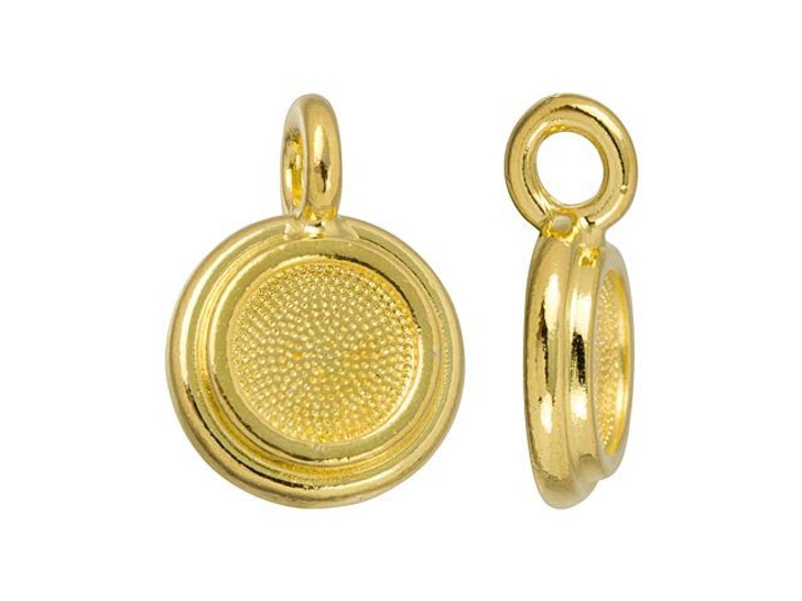 TierraCast Gold-Plated Pewter SS34 Stepped Glue-In Bezel Charm