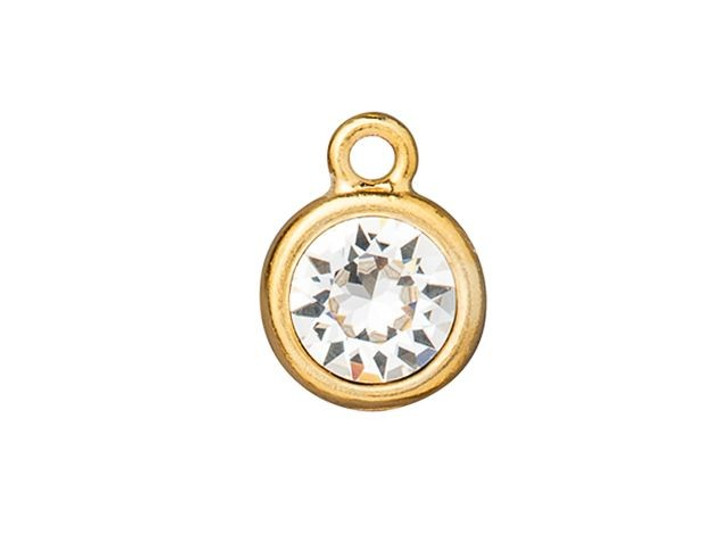 TierraCast Gold-Plated Pewter SS39 8mm Chaton Charm with Swarovski Crystal