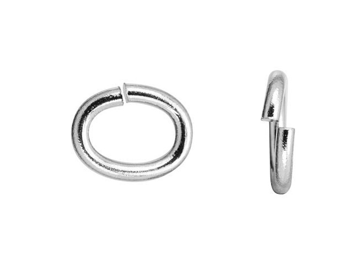 TierraCast Medium Oval Rhodium-Plated Brass Open Jump Ring
