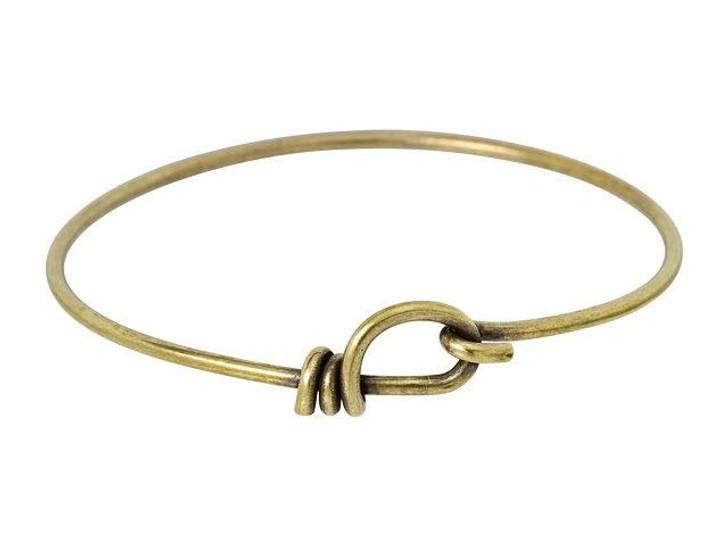 TierraCast Oxidized Brass Handmade 12 Gauge Wire Bangle Bracelet