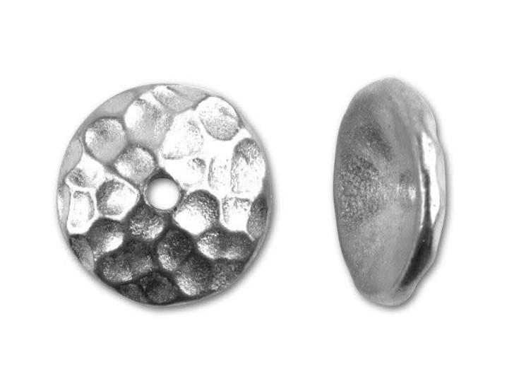 TierraCast Rhodium 10mm Round Hammered Bead Cap
