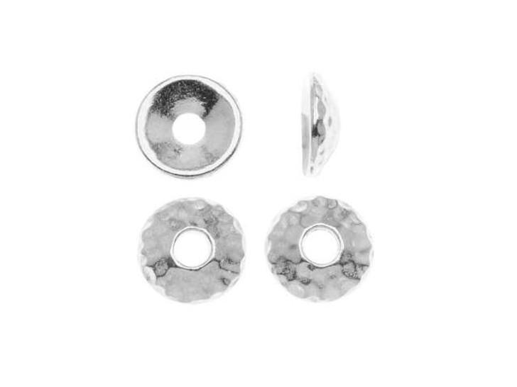 TierraCast Rhodium 9mm Hammertone Bead Cap