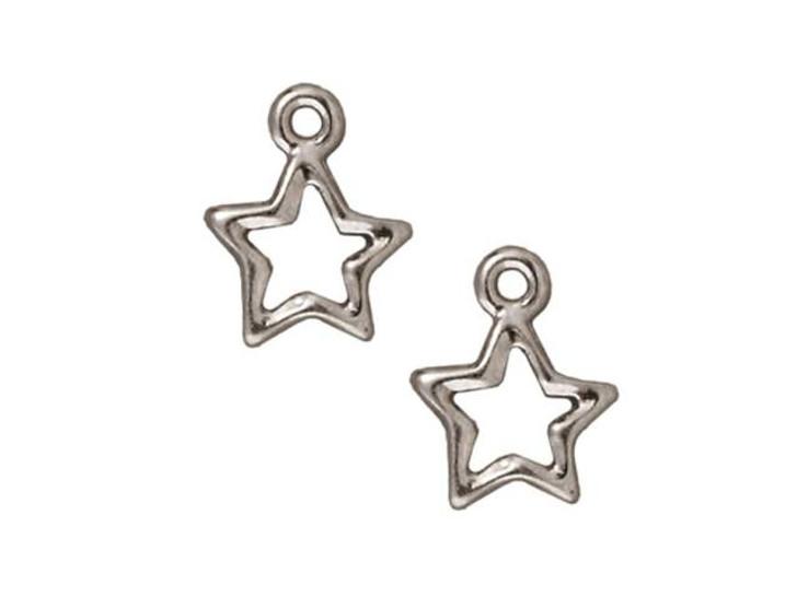 TierraCast Rhodium Open Star Charm