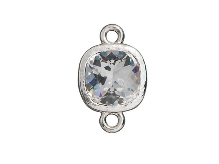 TierraCast Rhodium-Plated Pewter 10mm Cushion Hammered Bezel Link with Swarovski Crystal