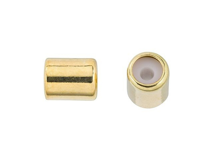7 x 5mm Gold String-On Barrel Clasp with Silicone Grommet