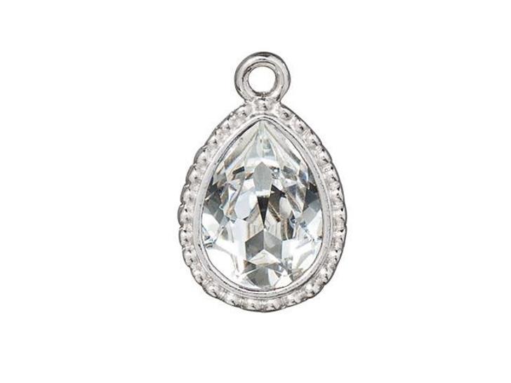 TierraCast Rhodium-Plated Pewter Beaded 14 x 10mm Beaded Pear Bezel Charm with Swarovski Crystal