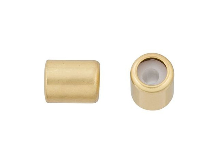 7 x 5mm Satin Hamilton Gold String-On Barrel Clasp with Silicone Grommet