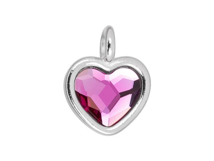 TierraCast Rhodium-Plated Pewter Heart Charm with Swarovski 10mm Fuchsia Crystal