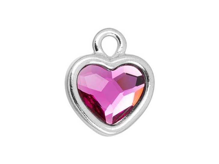 TierraCast Rhodium-Plated Pewter Simple Heart Charm with Swarovski 10mm Fuchsia Crystal