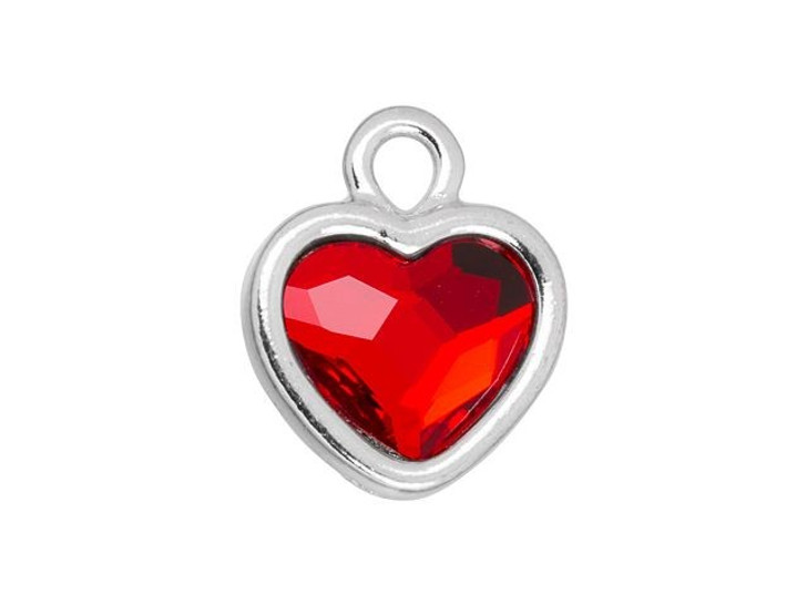TierraCast Rhodium-Plated Pewter Simple Heart Charm with Swarovski 10mm Light Siam Crystal