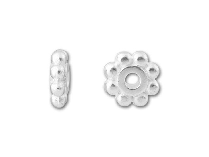 TierraCast Silver 6mm Beaded Heishi Daisy Spacer